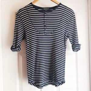 Ralph Lauren Blue White Striped Thermal Large